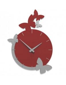 CALLEADESIGN: Butterfly fly orologio da parete tondo moderno legno color rosso rubino grigio in