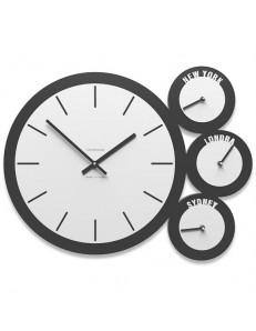 CALLEADESIGN: London orologio moderno da parete in legno bianco antracite fusi orari in offerta