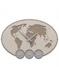CALLEADESIGN: Greenwich orologio da parete design planisfero fusi orari legno colore lino in offerta