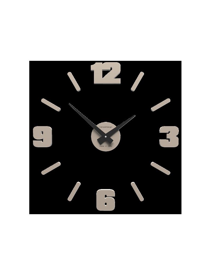 CALLEADESIGN: Orologio da parete numeri adesivi legno tortora 50cm in offerta