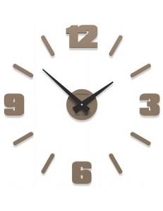 CALLEADESIGN: Orologio da parete moderno numeri adesivi legno colore caffellate 50cm in offerta