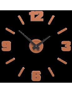 CALLEADESIGN: Orologio da parete numeri moderni adesivi componibili legno colore terracotta 50cm in