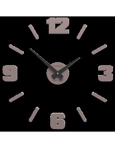 CALLEADESIGN: Orologio parete numeri adesivi legno grigio prugna 50cm in offerta