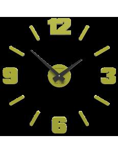 CALLEADESIGN: Orologio a parete moderno numeri adesivi legno verde cedro 50cm in offerta