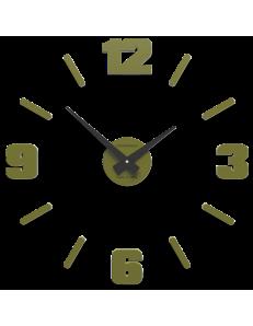 CALLEADESIGN: Orologio da parete moderno numeri adesivi legno verde oliva 50cm in offerta