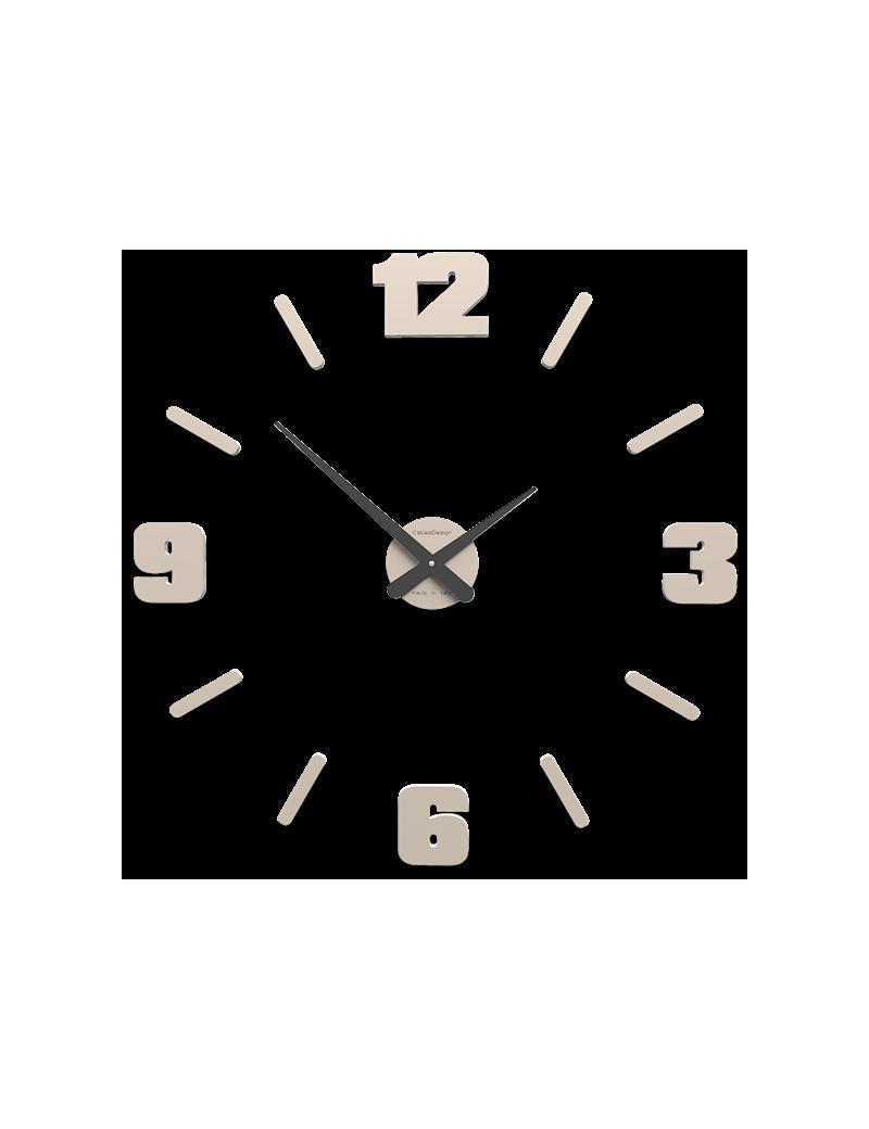 Orologio da parete moderno numeri adesivi legno colore sabbia 64cm