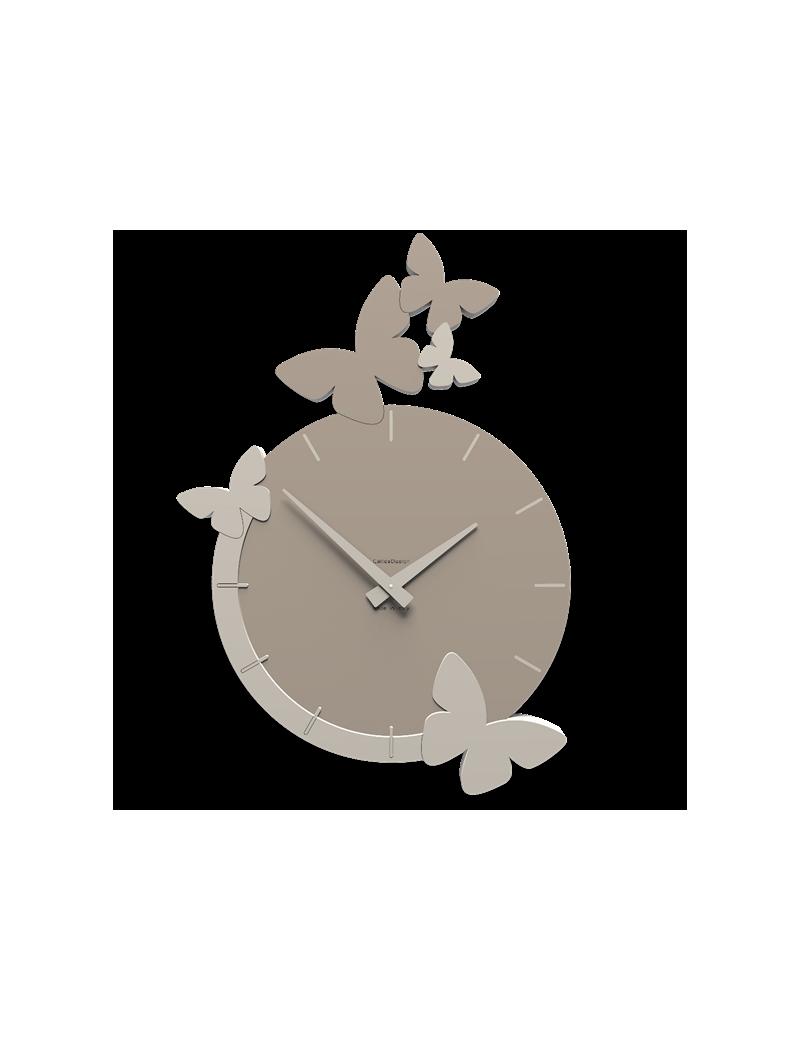 Orologio da parete moderno design farfalle colore tortora