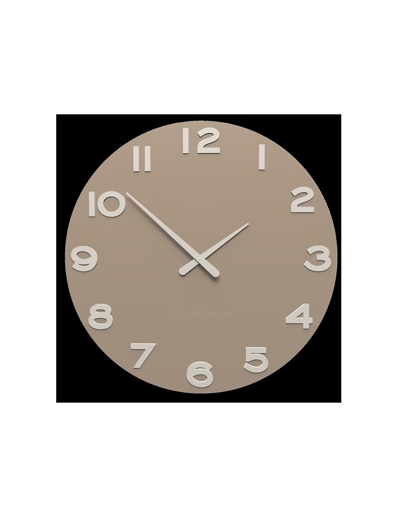 Orologio da parete moderno tondo legno colore caffelatte