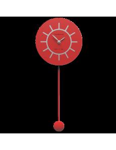 CALLEADESIGN: Filippo orologio a pendolo moderno in legno rosso fuoco e grigio in offerta
