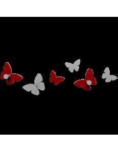 CALLEADESIGN: Appendiabiti da parete design farfalle legno rosso rubino e grigio in offerta