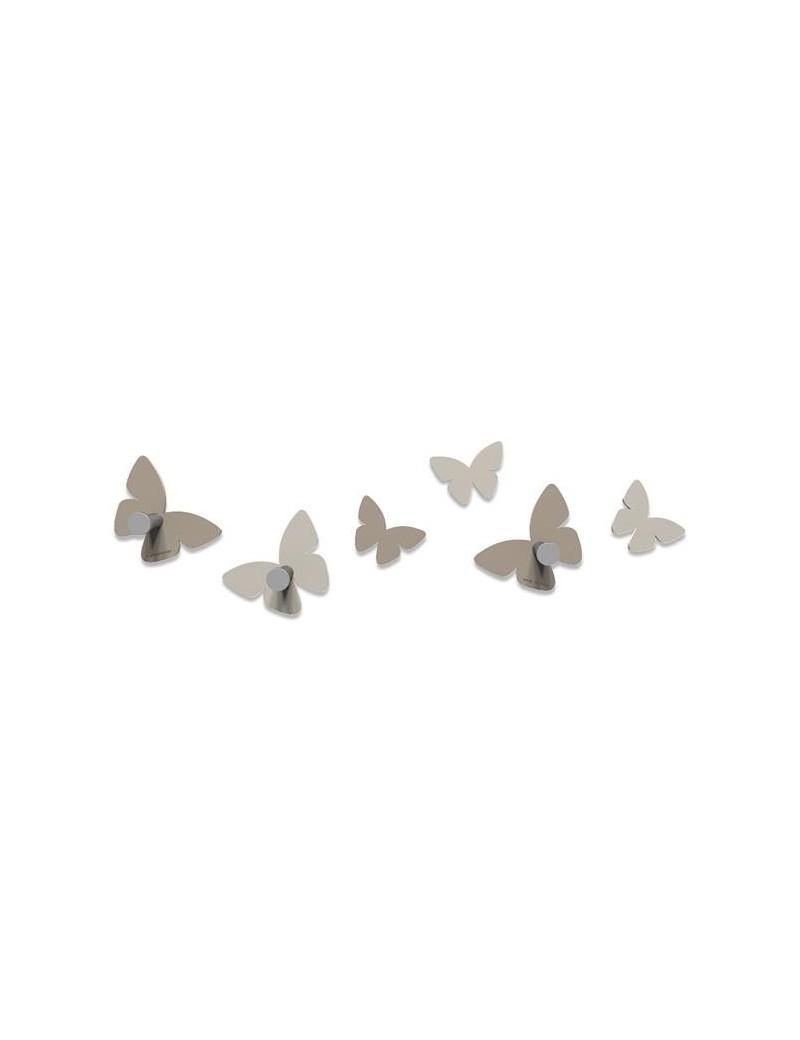 CALLEADESIGN: Appendiabiti da parete moderno design farfalle legno tortora in offerta