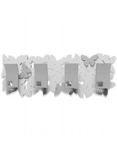 CALLEADESIGN: Nuvola di farfalle appendiabiti rettangolare rettangolare 4 pomelli bianco grigio in