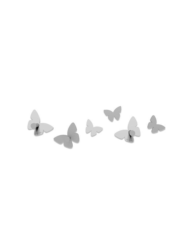 Attaccapanni Da Parete Bianco.Appendiabiti Da Parete Design Moderno Farfalle Legno Bianco E Grigio