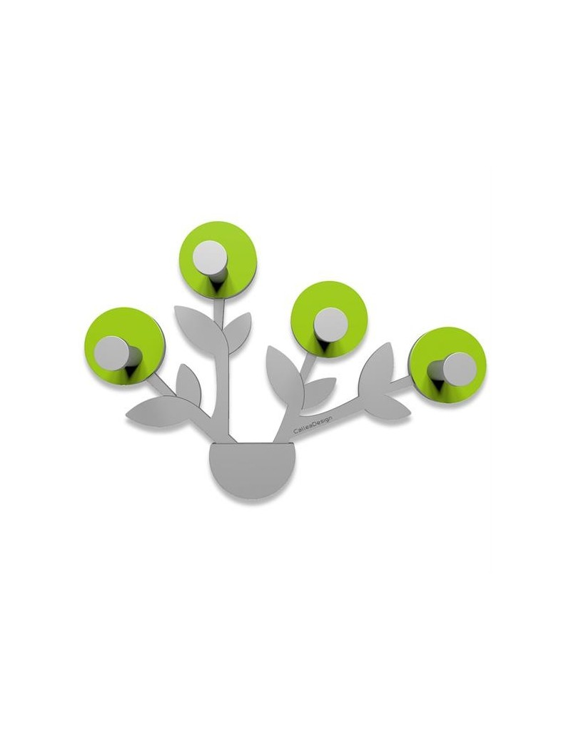 CALLEADESIGN: Francine appendiabiti da parete moderno design pianta legno color verde mela grigio