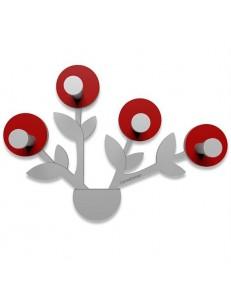 CALLEADESIGN: Francine appendiabiti da parete moderno design pianta legno color rosso rubino grigio