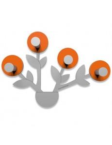 CALLEADESIGN: Francine appendiabiti da parete moderno design pianta legno color arancione grigio in