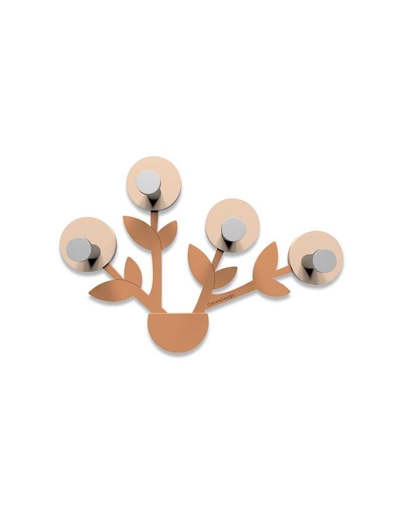 CALLEADESIGN: Francine appendiabiti da parete moderno design pianta legno color terracotta in