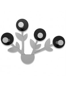 CALLEADESIGN: Francine appendiabiti da parete moderno design pianta legno color nero grigio in