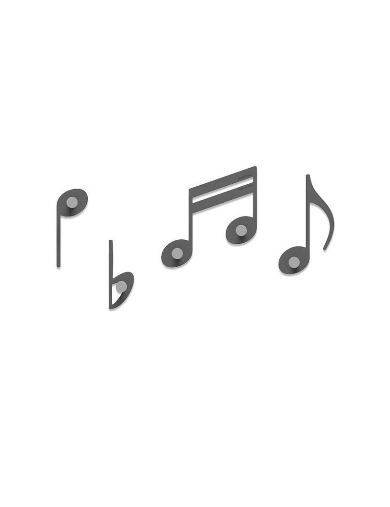 Appendiabiti Da Soffitto Ingresso.Appendiabiti Note Musicali A Parete Colore Grigio Quarzo Per Ingresso