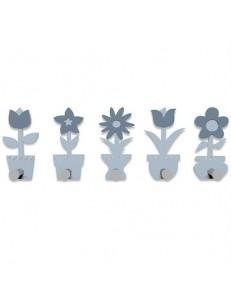 CALLEADESIGN: Appendiabiti da parete moderno design design Fiorello legno colore azzurro polvere in