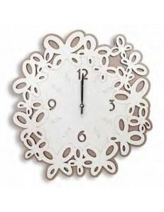 ARGENTI PREZIOSI: Orologio da parete moderno legno intagliato bianco tortora 50cm in offerta