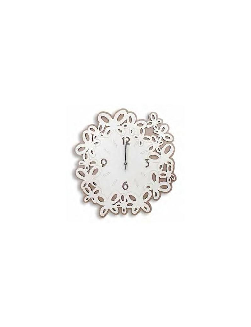 Orologio da parete moderno legno intagliato bianco tortora 50cm