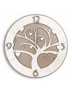 ARGENTI PREZIOSI: Albero della vita orologio da parete legno intagliato bianco tortora 33cm in