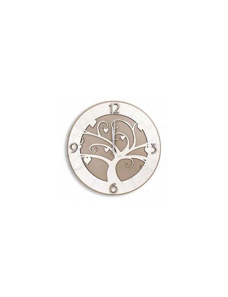 Albero della vita orologio da parete moderno legno bianco tortora  intagliato 50cm