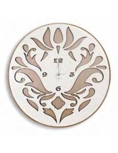 ARGENTI PREZIOSI: Orologio da parete moderno bianco tortora legno intagliato caffelatte 50cm in