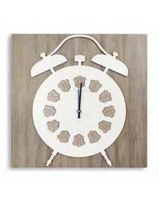 ARGENTI PREZIOSI: Orologio quadrato da parete bianco tortora legno intagliato sveglia 33cm in