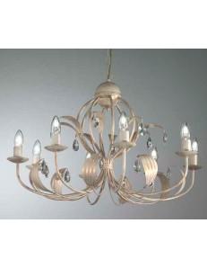 MR DESIGN: lancillotto lampadario 8 luci metallo artigianale con gocce in cristallo camera