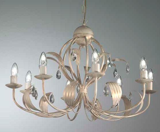 Lancillotto sospensione 8 luci metallo artigianale con gocce cristallo