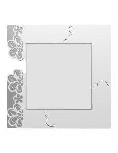 CALLEADESIGN: Merletto specchio floreale da parete moderno legno bianco grigio in offerta