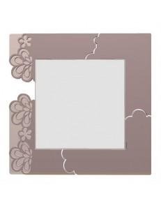 CALLEADESIGN: Merletto specchio floreale da parete moderno legno grigio prugna in offerta