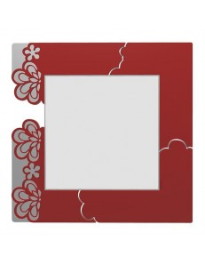 CALLEADESIGN: Merletto specchio floreale da parete moderno legno rosso rubino grigio in offerta