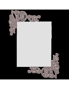 CALLEADESIGN: Art nouveau specchio rettangolare parete legno traforato color grigio prugna in