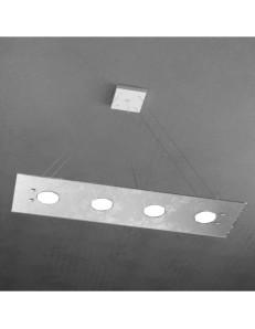 Path 4+3 luci sospensione LED in vetro argento