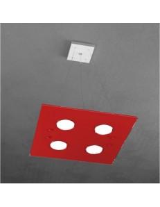 Path sospensione LED 4 luci in vetro rosso