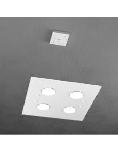 Path 4+2 luci sospensione LED vetro bianco