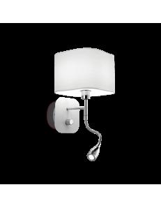 Holiday applique LED con paralume bianco e luce lettura per camera da letto