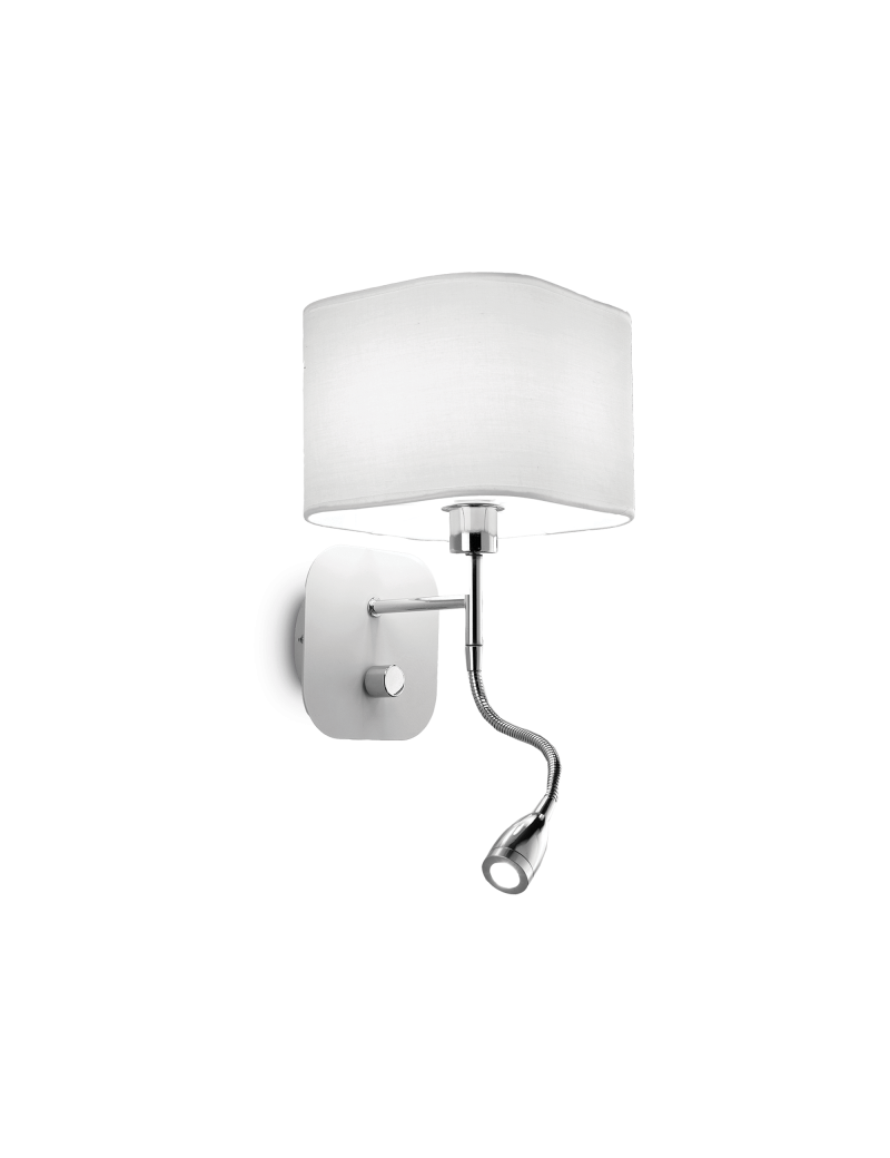 Applique Per Camera Da Letto.Ideal Lux Holiday Applique Led Con Paralume Bianco E Luce Lettura
