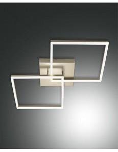 PLAFONIERA MODERNA LED 52 W doppio quadrato 4680 LUMEN DIMMERABILE oro opaco FABAS