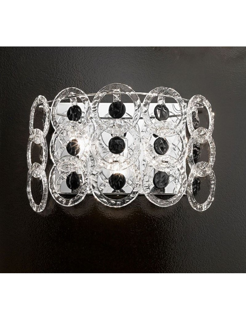 ANTEALUCE: Mary rose applique cristallo nero 55cm in offerta