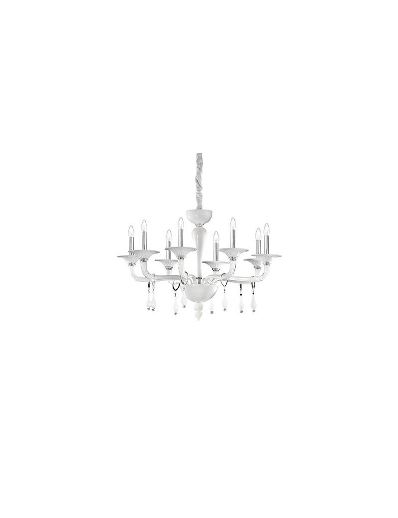 IDEAL LUX: Miramare sp8 lampadario in vetro trasparente bianco 8 luci in offerta