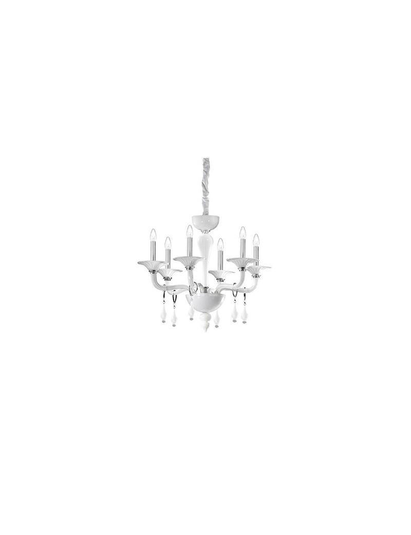 IDEAL LUX: Miramare sp6 lampadario in vetro trasparente bianco 6 luci in offerta