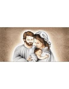 ARGENTI PREZIOSI: Capezzale sacra famiglia 70x40 stampa su pelle ritocco con cristalli e glitter in