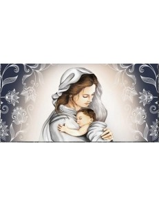 ARGENTI PREZIOSI: Capezzale contemporaneo maternita' stampa su pelle ritocco con cristalli e