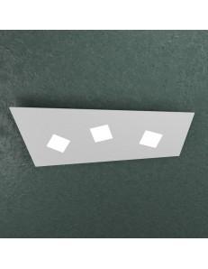 Note plafoniera LED rettangolare 3 luci grigio 65cx28cm