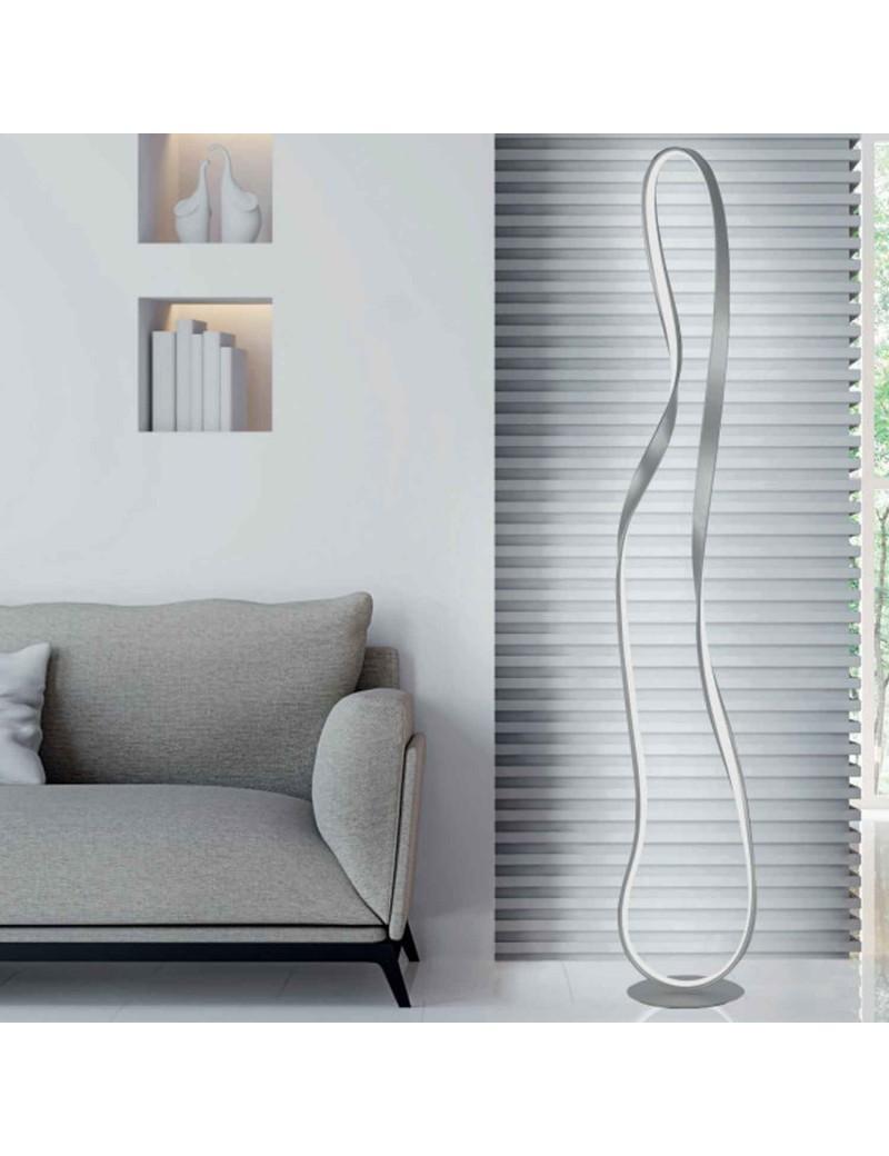 Spark piantana LED 35 watt silver per soggiorno moderno 165cm