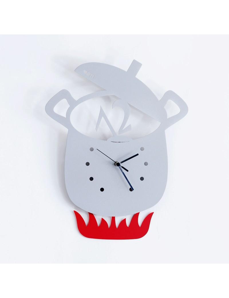Orologio a pendolo da parete pentola alluminio moderno for Orologio cucina design